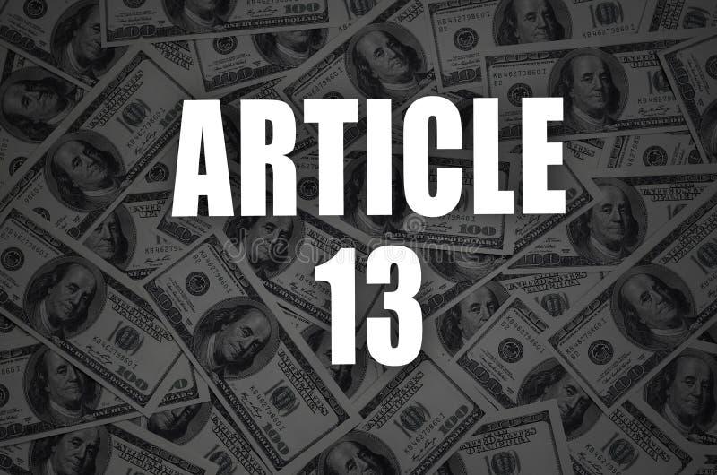 第13题字和许多一百元钞票在黑暗的背景中 免版税库存图片