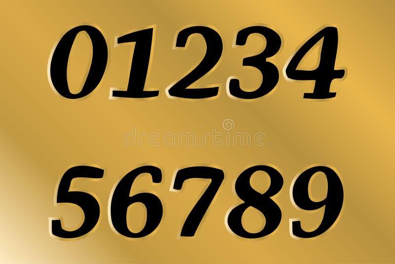 第0,1,2,3,4,5,6,7,8,9 金子等高形状 免版税图库摄影