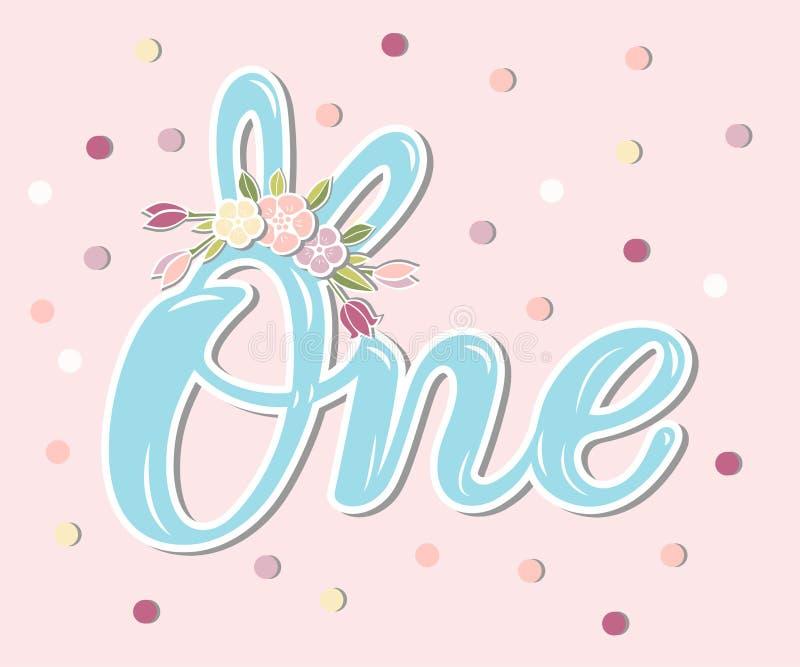 第1,周年,婴孩诞生,徽章,横幅模板,蓝色,兔宝宝耳朵,动画片,孩子,衣裳设计,概念,逗人喜爱,装饰, 向量例证