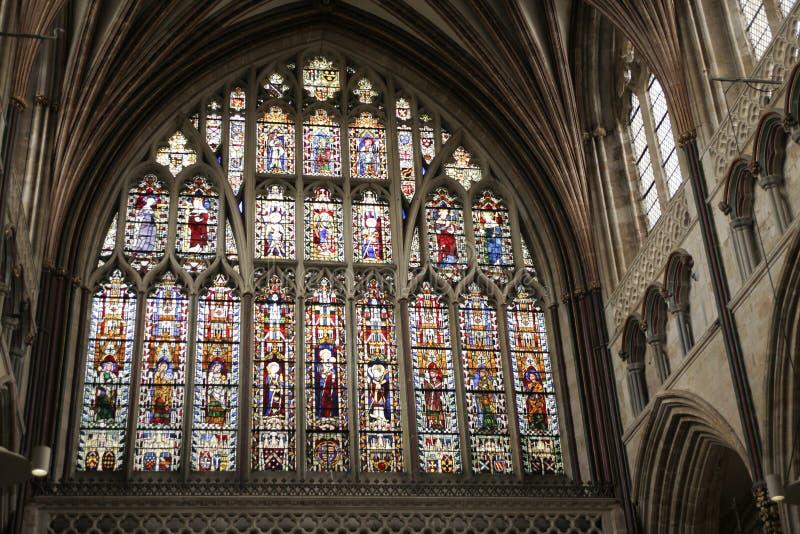 第14个大教堂世纪东部埃克塞特极大的 库存图片