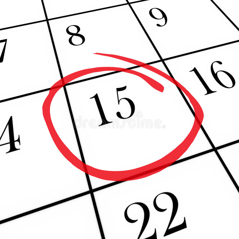 第15个日历盘旋的日每月 库存例证