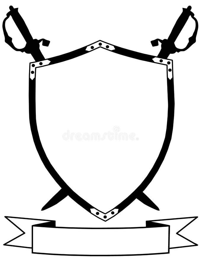 第16个横幅世纪查出的盾剑 皇族释放例证