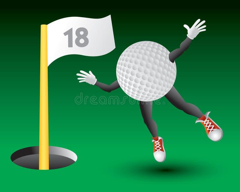 第18个球字符飞行高尔夫球漏洞往 皇族释放例证