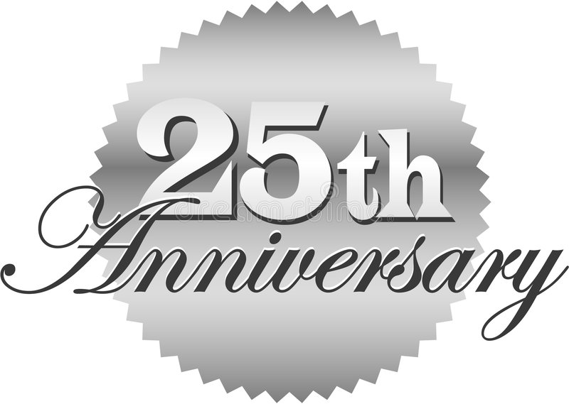 第25个周年纪念eps密封 库存例证