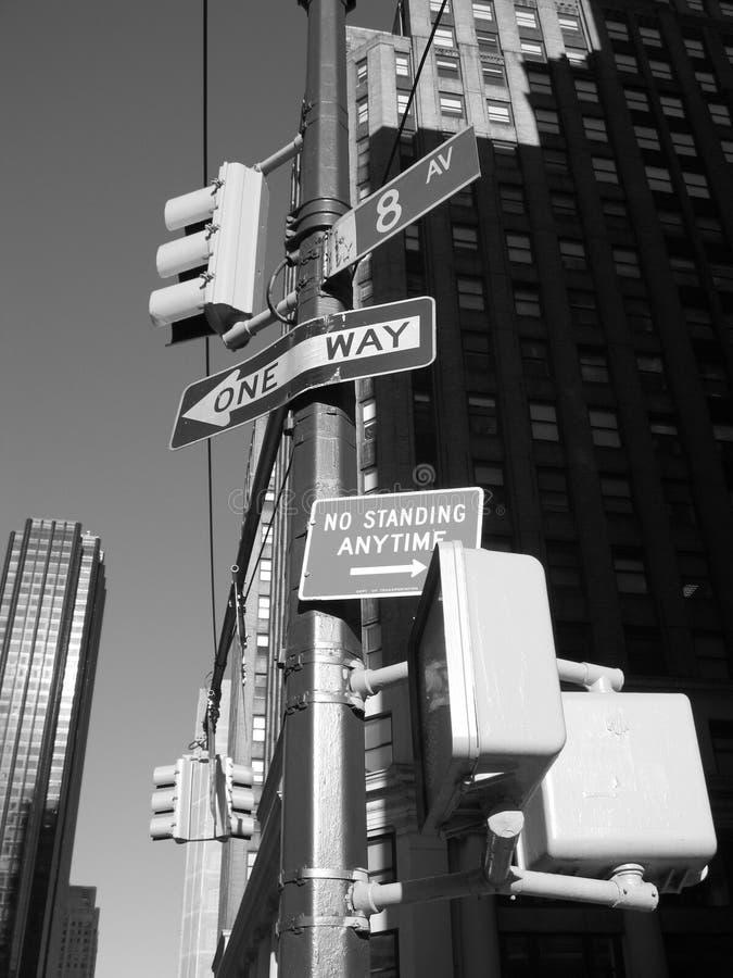 第8大道nyc签署街道 库存图片
