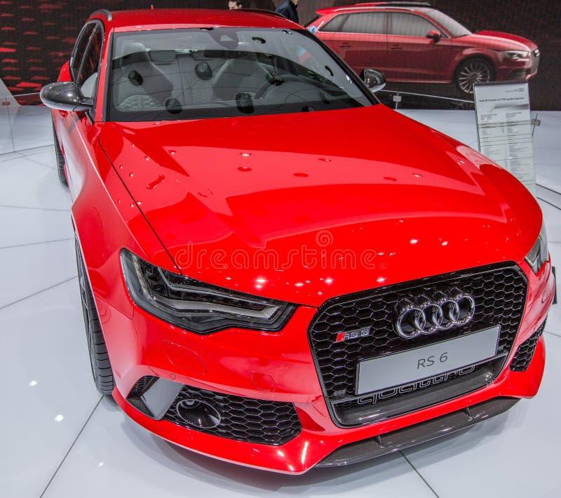 第83日内瓦Motorshow 2013年- Audi RS6 Avant 免版税图库摄影