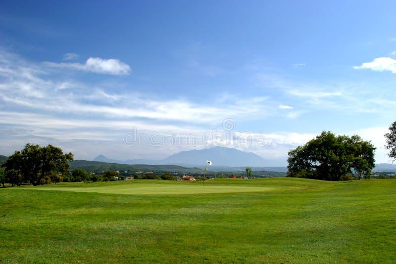 第9明亮的路线日高尔夫球漏洞roque圣・晴朗的西班牙 免版税库存照片