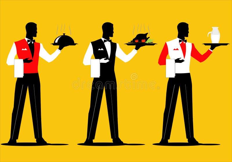 等候人员 侍者拿着有各种各样的制服的一套一个盘子 皇族释放例证