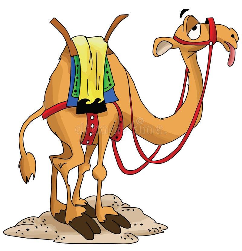 等待他的车手被用尽的传染媒介的动画片骆驼 库存例证