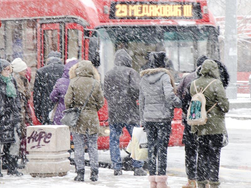 等待公共交通工具的人们在重的飞雪的公交车站在冬天 免版税库存图片