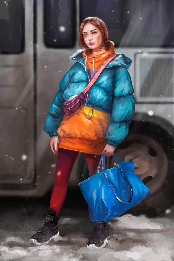 等待公共汽车的女孩的例证 库存例证