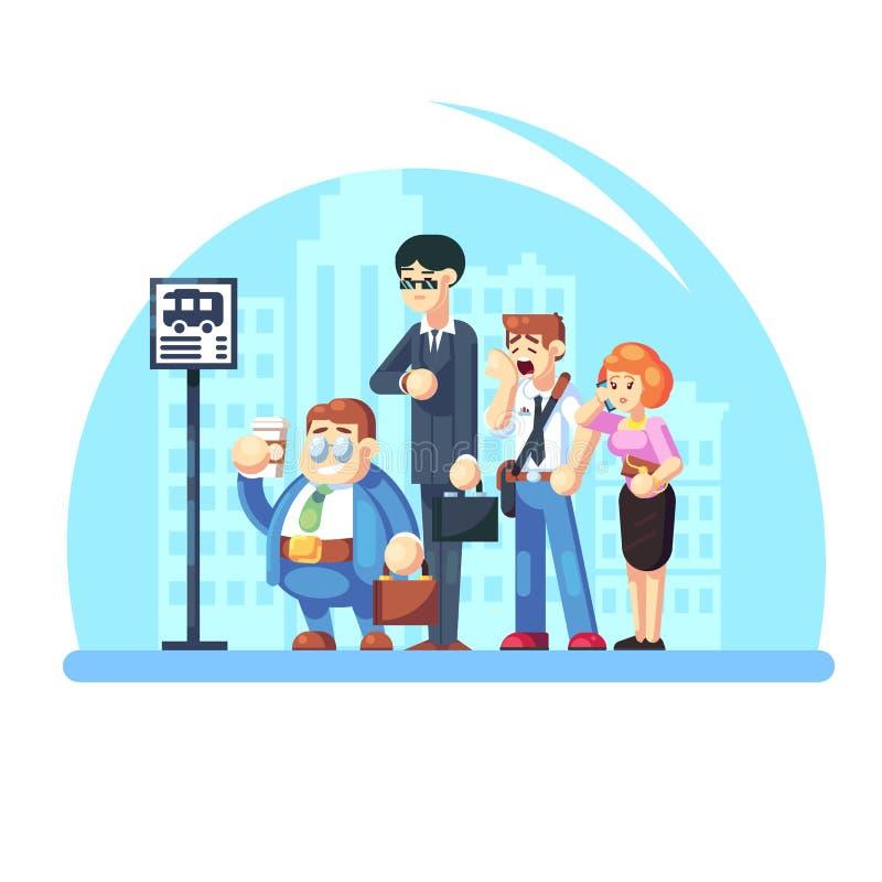 等待公共汽车的小组不同的人民,当站立在公交车站早晨时 在街道上的办公室工作者 皇族释放例证
