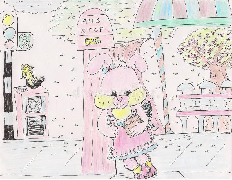 等待在公交车站的明亮的有吸引力的逗人喜爱的桃红色小兔2019年 皇族释放例证