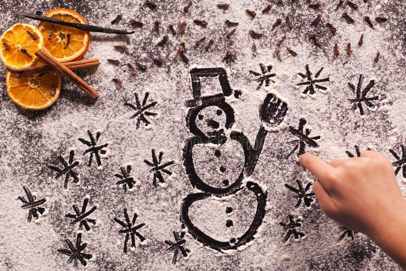 等待寒假-儿童手图画圣诞节s 图库摄影