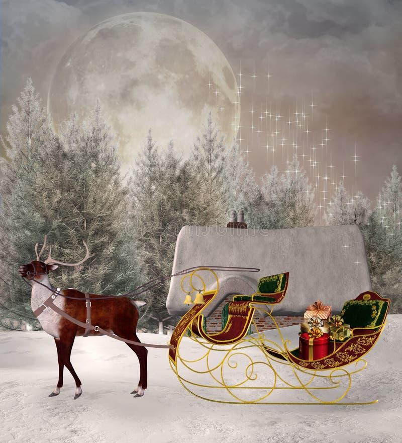 等待的圣诞老人项目和他的驯鹿 库存例证
