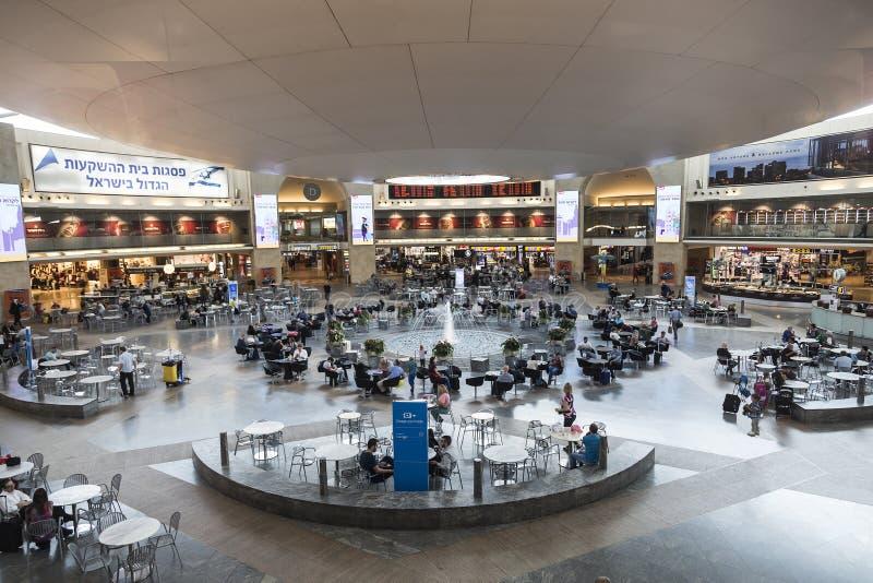 等待的大厅在本古理安机场,特拉维夫 库存照片