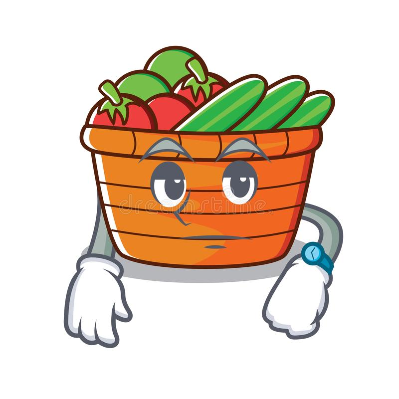 等待的水果篮字符动画片 向量例证