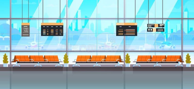 等待的霍尔或离开休息室现代机场内部终端 库存例证