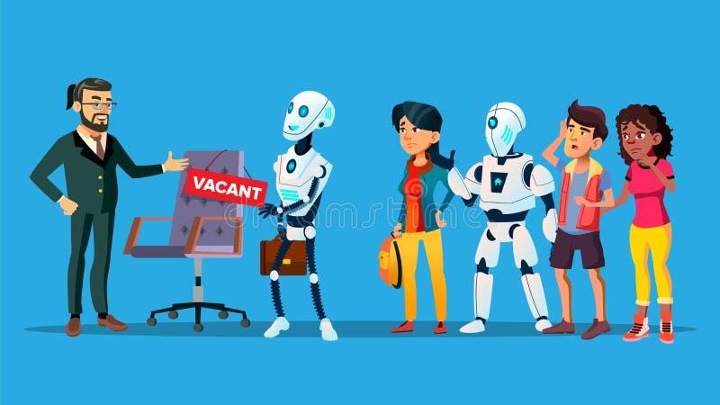等待采访传染媒介的失业的字符 向量例证