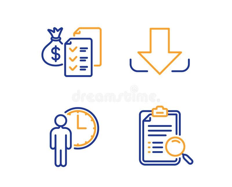 等待,认为财富和下载象集合 查寻分析标志 服务时间,审计报告,装载文件 ?? 向量例证