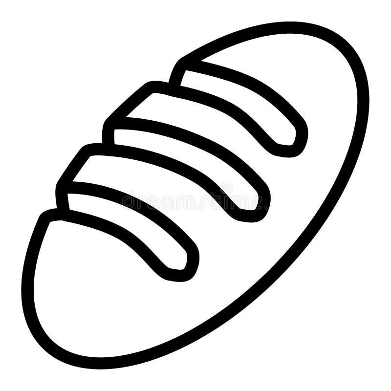 等救济队伍象 在白色隔绝的长的大面包传染媒介例证 面包店概述样式设计,设计为网和app 向量例证