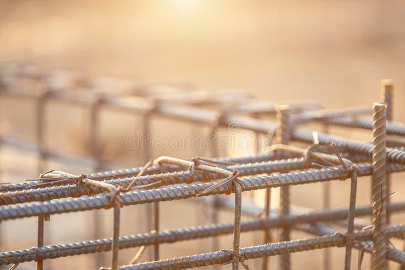 等级射线/地梁的钢筋钢在房屋建设的过程中 免版税库存照片