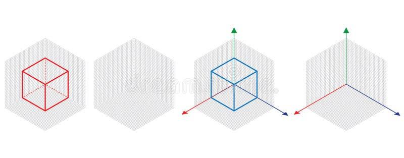等角图三十degreesangle被应用于它的边 立方体在对面 等量栅格传染媒介 库存例证