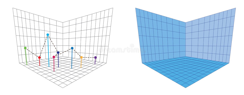 等角图三十degreesangle被应用于它的边 立方体在对面 等量栅格传染媒介 皇族释放例证