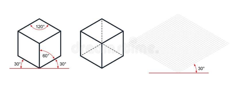 等角图三十degreesangle被应用于它的边 向量例证