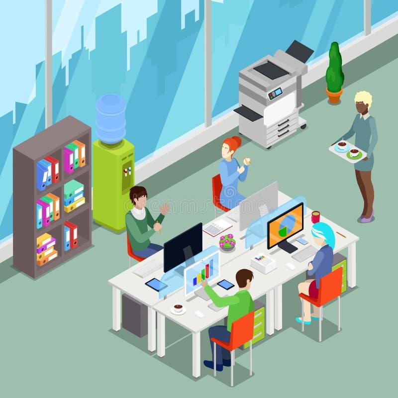 等量与工作者和计算机的办公室露天场所 向量例证