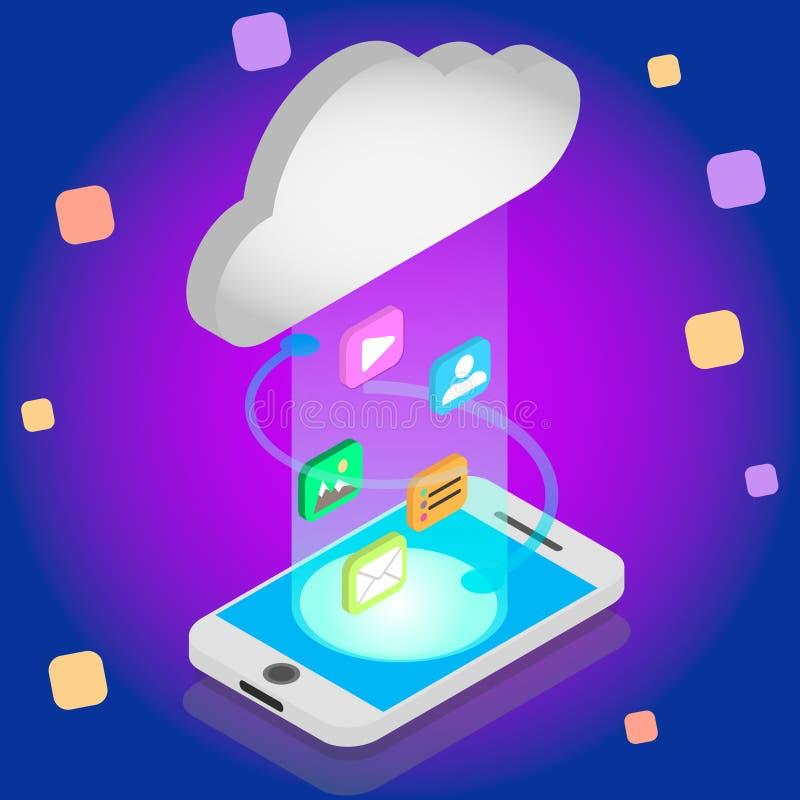 等量云彩存贮概念 与智能手机的同步后端云彩数据存储 数据传送加载下载 库存例证
