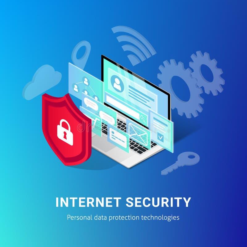 等量互联网安全横幅蓝色 皇族释放例证