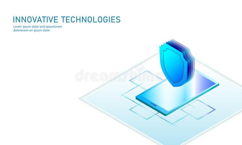 等量互联网安全盾企业概念 蓝色发光的等量个人信息数据连接个人计算机 库存例证