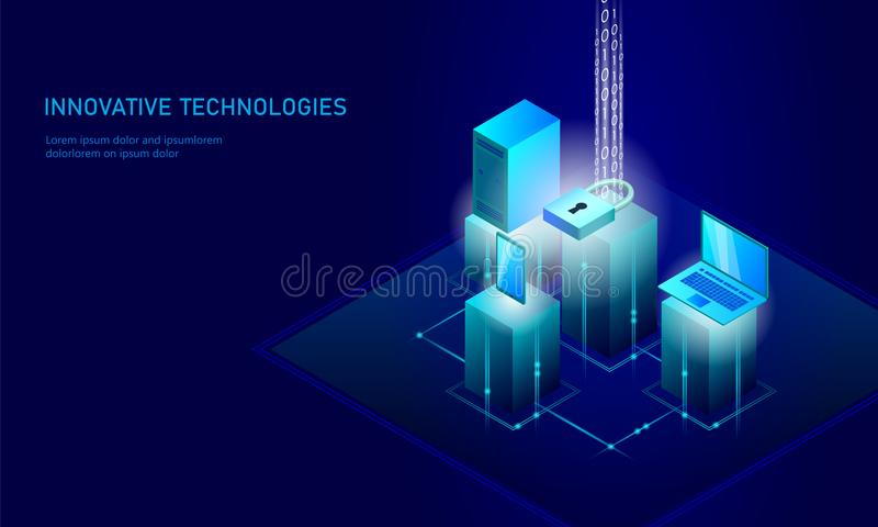 等量互联网安全锁企业概念 蓝色发光的等量个人信息数据连接个人计算机 向量例证