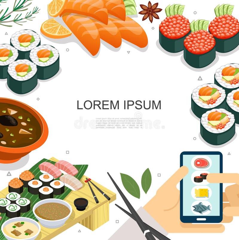 等量五颜六色的日本料理概念 皇族释放例证