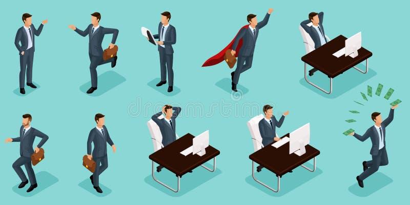 等量人民、3d企业家、不同的概念场面、情感和姿态商人,超人,管理 向量例证