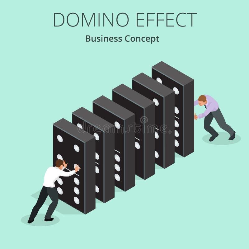 等量人起动多米诺作用a和链式反应概念 商业查出的隐喻白色 企业解答和帮助 向量例证