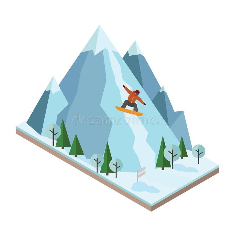 等量传染媒介人成功山 雪板运动,冬季体育 Olimpic比赛,休闲生活方式,活动 库存例证