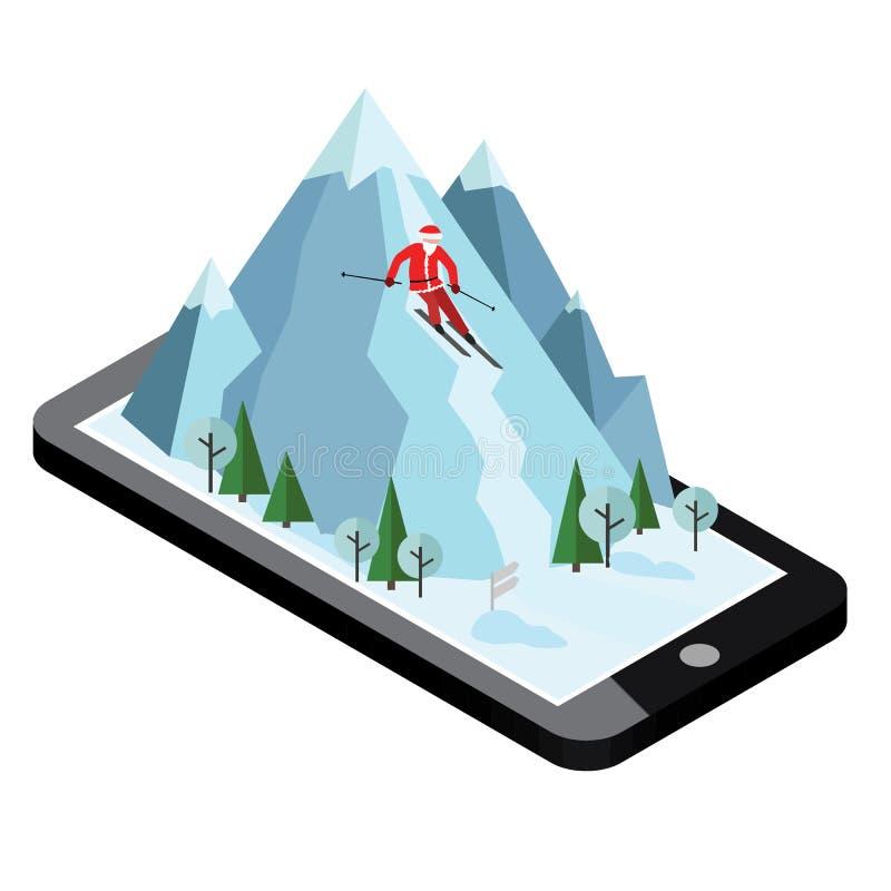 等量传染媒介圣诞老人项目成功山 高山滑雪,冬季体育 圣诞节和新年来临 库存例证