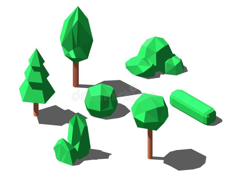 等量低多树和灌木设置了传染媒介例证 库存例证