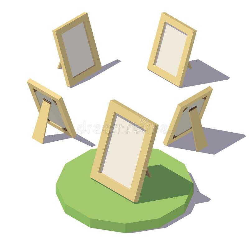 等量低多照片框架 向量例证