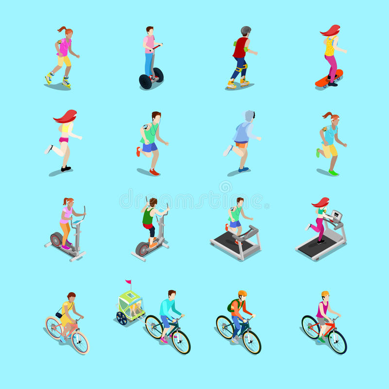 等量体育人集合 连续人民,自行车的,妇女健身,滑板的妇女骑自行车者 向量例证