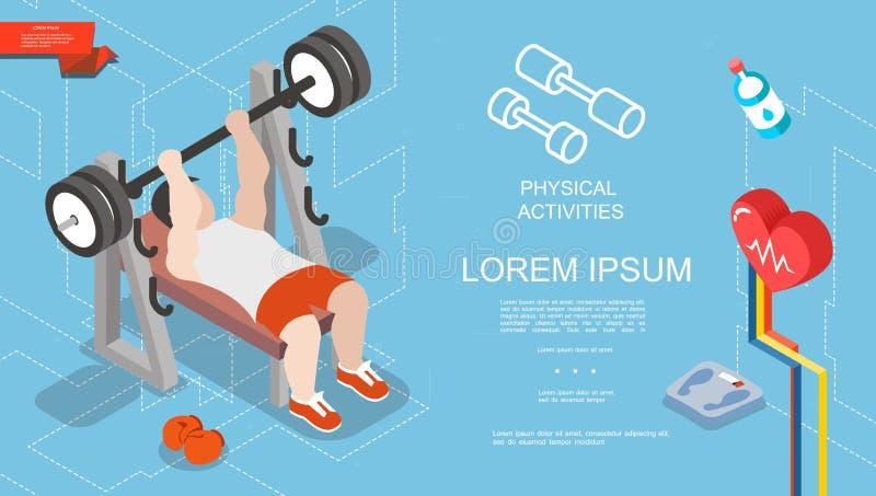 等量体育和健身概念 库存例证