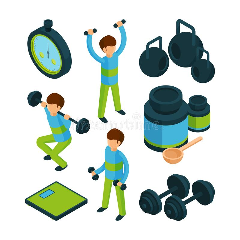 等量体育的锻炼 体育活动人健康传染媒介3d收藏的设备 皇族释放例证