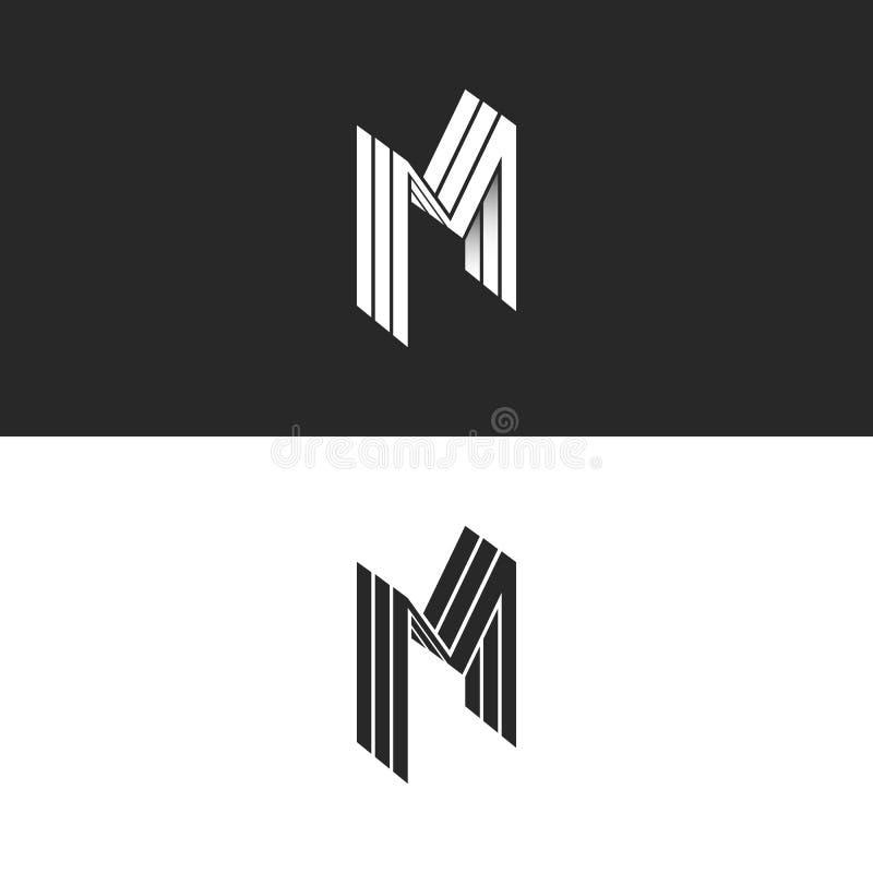 等量信件M商标,3D排行几何形状,名片的透视形式身分创造性的象征 库存例证