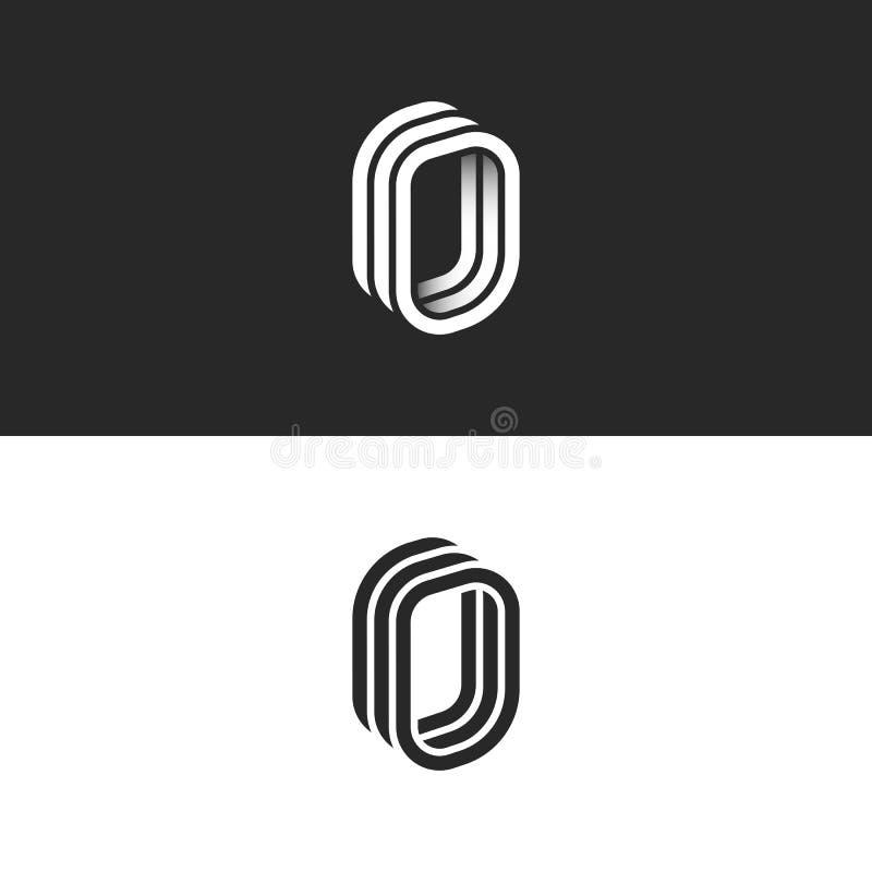 等量信件O最初或数字零的组合图案,创造性的3d门商标,光滑的透视形状线性设计模板 向量例证