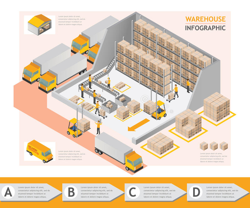 等量信息图表仓库传染媒介设计 向量例证