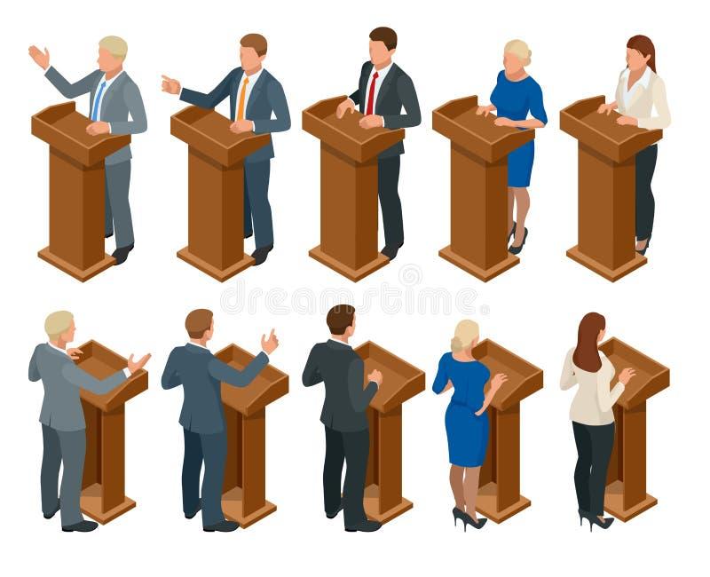 等量公开演说者讲话从论坛 做公示报告的业务经理在论坛与 向量例证