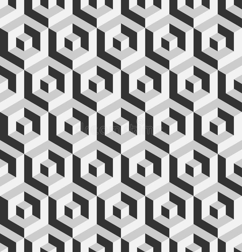等量六角形状抽象3D背景  灰色传染媒介无缝的样式设计 皇族释放例证