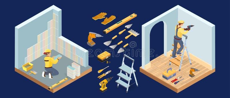 等量内部修理概念 电工和铺磁砖工工具 r 皇族释放例证